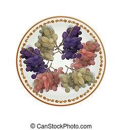 plaque, entiers, illustration, vecteur, raisins, blanc