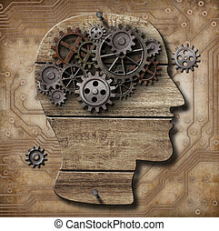 plaque, fait, grunge, cerveau humain, sur, métal, cochons, rouillé, engrenages, circuit
