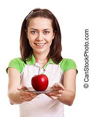 plaque, femme, pomme, donner, jeune, isolé, sourire, rouges, heureux