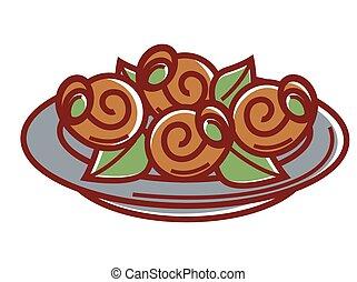 plaque, feuilles, isolé, illustration, escargot, frais