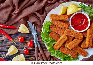 plaque, fish, breadcrumbed, bâtons