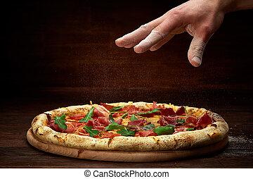 plaque, fond, bois, sur, rustique, délicieux, servi, pizza...