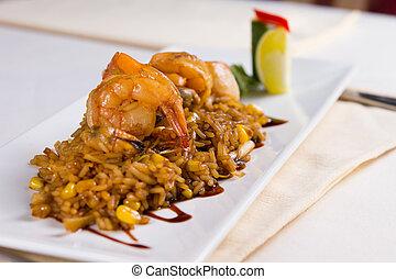 plaque, frit, fruits mer, haut fin, riz