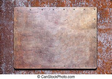 plaque, frontière, métal