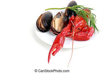 plaque, fruits mer
