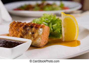 plaque, garnitures, fish, haut, grillé, fin