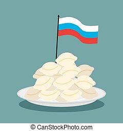 plaque, gens, boulettes, national, délicatesse, nourriture., traditionnel, drapeau russe, patriotique, folklorique