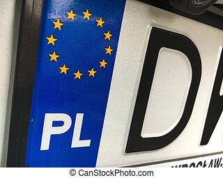 plaque, gros plan, illustrer, symboles, county's, enregistrement, polonais, européen
