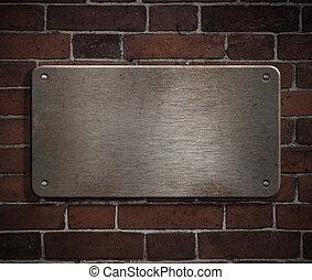 plaque, grunge, mur, métal, fond, brique, rivets