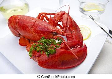 plaque, homard, rouges
