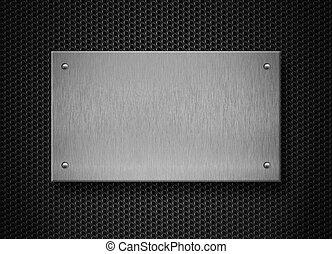 plaque, industriel, métal, fond