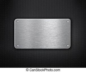 plaque, industriel, métal, rivets, fond