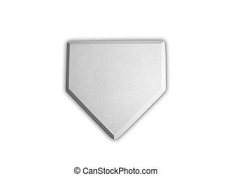 plaque, isolé, base, base-ball, maison, blanc