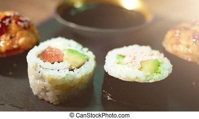 plaque., japonaise, rouleau, ensemble, noir, nourriture., sushi