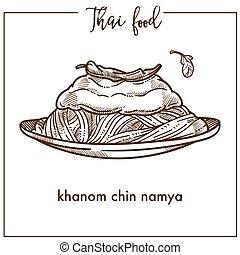 plaque, khanom, nourriture, namya, menton, thaï