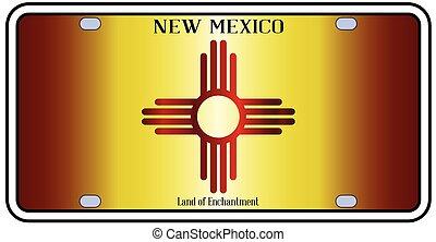 plaque, licence, drapeau nouveau-mexique
