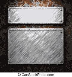 plaque, métal rouillé, aluminium