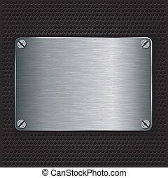 plaque, métal, ve, texture, vis