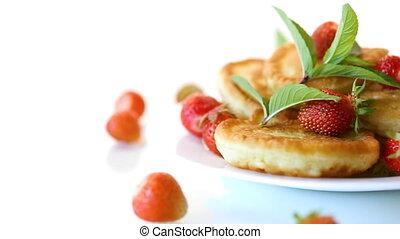 plaque, mûre, crêpes, doux, fraises, frit