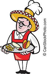 plaque, mexicain, maïs, tacos, chef cuistot, cuisinier, ...