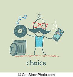 plaque, mobile, ton, musique, écouter, jets, homme
