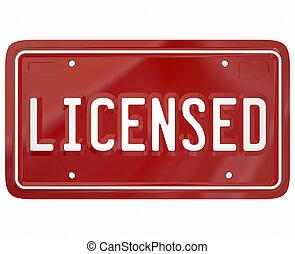 plaque, mot, auto, enregistré, chauffeur, autorisé, autoriser, véhicule, 3d