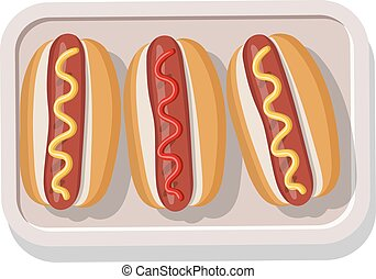 plaque, moutarde, ketchup., illustration, vecteur, grillé, hotdogs