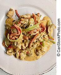 plaque., moutarde, légumes, servi, julienne, crème, curry poulet