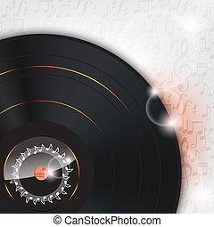 plaque, musique, vinyle, fond, lueur