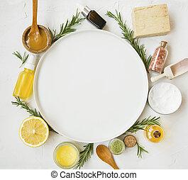 plaque, naturel, herbes, espace, huiles, miel, produits, skincare, copie, rond, manuka