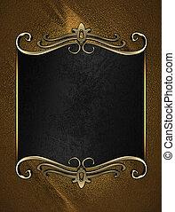 plaque, nom, or, bords, arrière-plan noir, orné