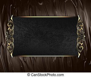 plaque, nom, or, brun, bords, arrière-plan noir, orné
