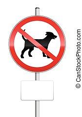 plaque, non, signe, trafic, vide, chiens