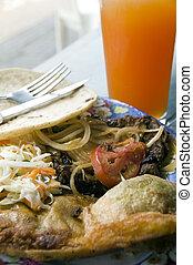 plaque, nourriture, leon, rue, mélangé, nicaragua