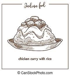 plaque, nourriture., traditionnel, indien, poulet, riz, curry