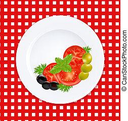 plaque, olives, herbes, frais, blanc, tomates