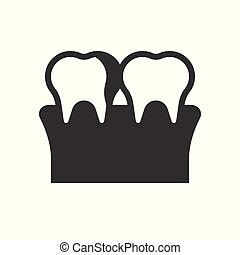 Plaque on Teeth, Cavity, tooth decay, dental related solid icon