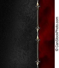 plaque, or, bords, arrière-plan., noir, orné, rouges
