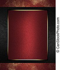 plaque, or, résumé, porté, fond, rouges