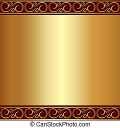 plaque, or, vignettes, résumé, vecteur, fond