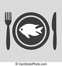 plaque, pêchez icône, gris, arrière-plan.
