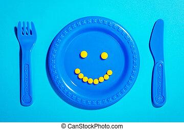 plaque, pilules heureuses, enfant
