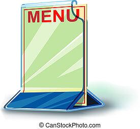 plaque, plexiglas, menu