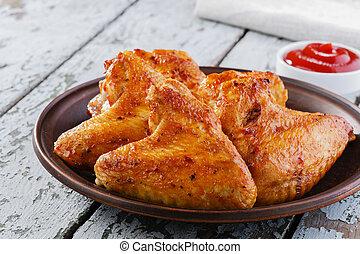 plaque, poulet, frit, ailes