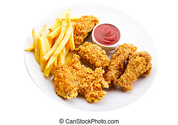 plaque, poulet, frit