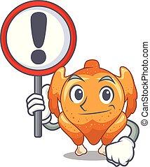 plaque, poulet, mascotte, rôti, signe