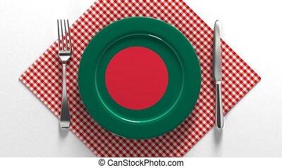 plaque, recipes., drapeau, bangladesh., cuisine, national, ...