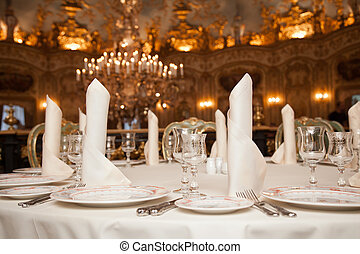 plaque, restaurant, verre vin, serviette, setting:, dîner, endroit, table