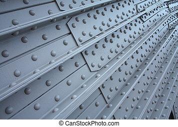 plaque, rivets, textural, métal, fond
