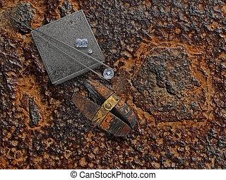 plaque, rouillé, fonctionnement, diamants